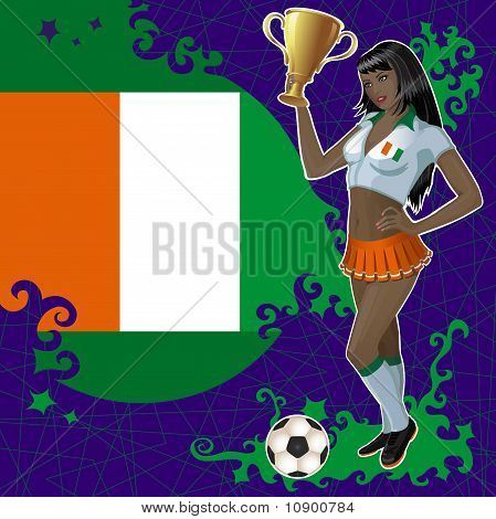 Vector Football Poster With Girl And Cote D'ivoire  Flag