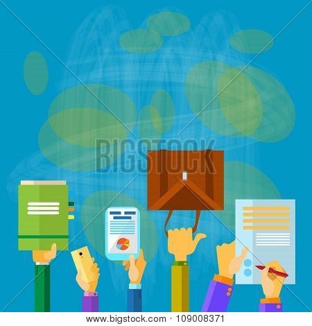 Business People Hands Hold Documents Briefcase