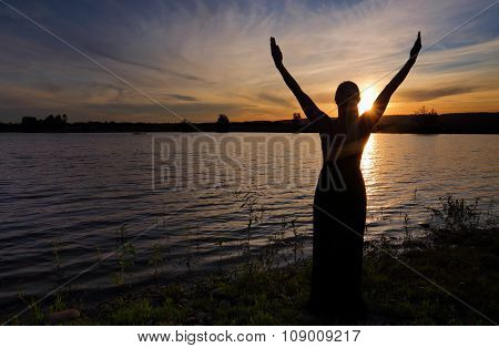 Rejoice Life - Woman  Against Sunset Sky