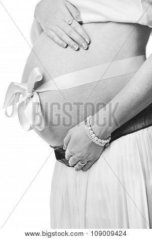 Belly Of Pregnant Woman Monochrome