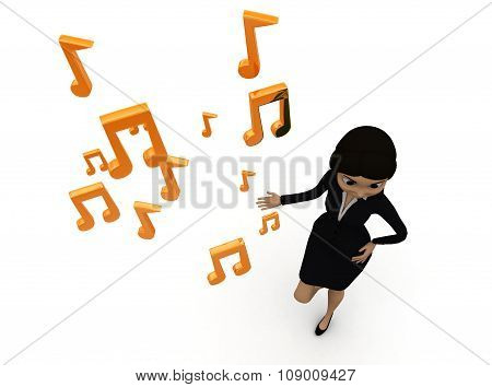 3D Woman Presenting Musical Notes Concept
