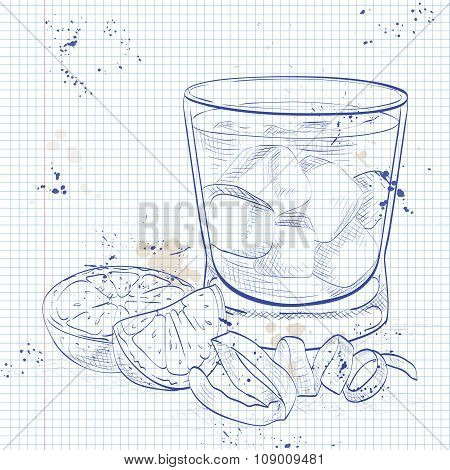 Negroni alcoholic cocktail on a notebook page
