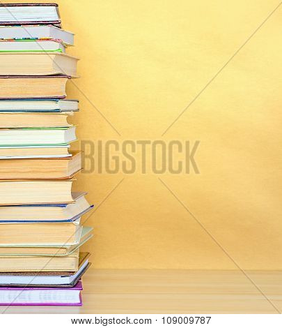 stack book on wood desk