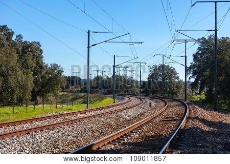 Turn Of A Rural Railroad In Portugal