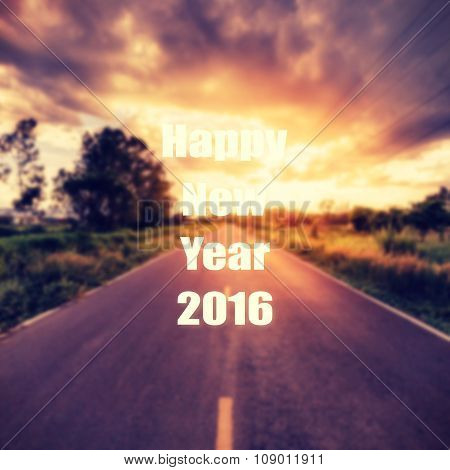 Abstract Vintage Blurred Country Road And Field Sunset. Forward To The New Year 2016.
