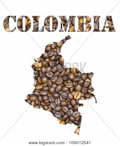 Colombia Word And Country Map Shaped With Coffee Beans Background
