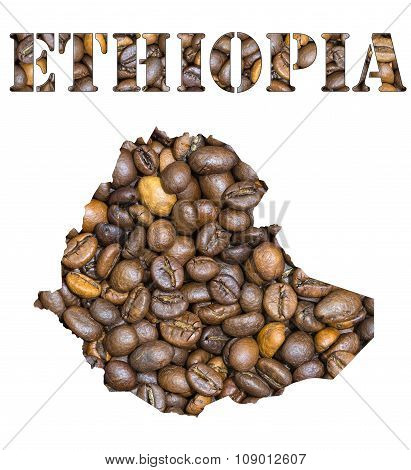 Ethiopia Word And Country Map Shaped With Coffee Beans Background