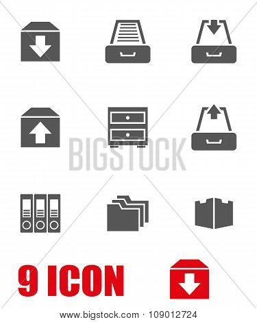 Vector Grey Archive Icon Set