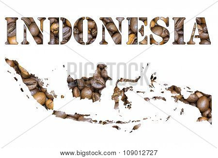Indonesia Word And Country Map Shaped With Coffee Beans Background