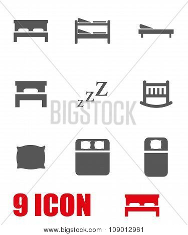 Vector grey bed icon set