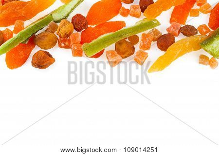 Top view of healthy dried colorful fruits and zucchini with copy free space for your text isolated o