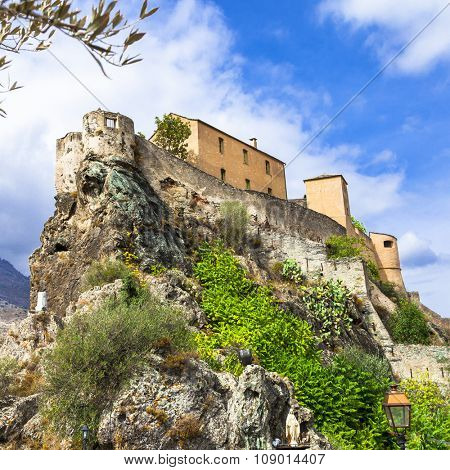 Corte - impressive medieval town in Corsica,  view with citadel