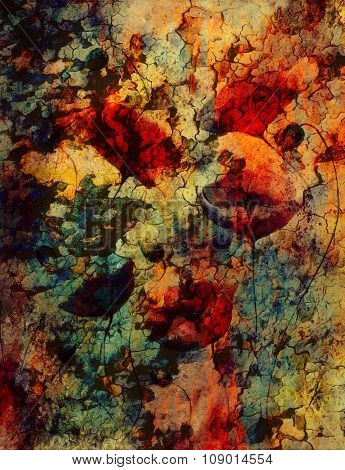 Red poppy on color background. Red flower on abstract color background with desert crackle structure