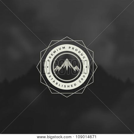 Mountain Design Element in Vintage Style for Logotype