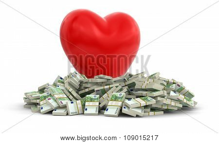 Euros and heart (clipping path included)