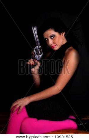 Woman Pink Gun Blow