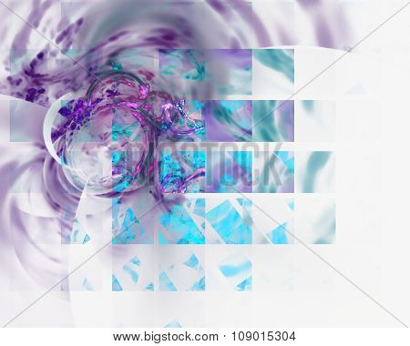 Abstract Fractal Design. Multiple Squares And Blur On White.