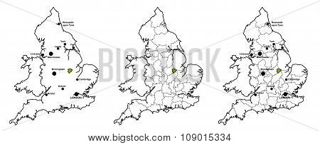 Rutland located on map of England