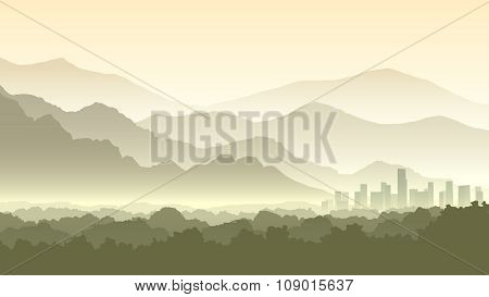 Horizontal Cartoon Illustration Of Misty Forest Hills With City.
