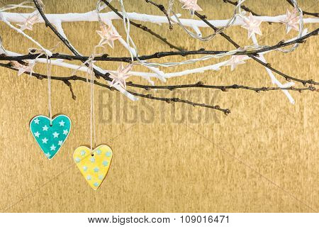 Gingerbread Hearts On Tree Branch