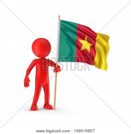 Man and Cameroon flag (clipping path included)