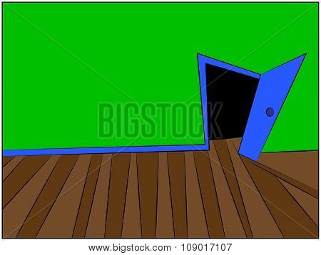 Mystery Room Cartoon Vector Illustration Of Home Or Office Corridor And Open Door.