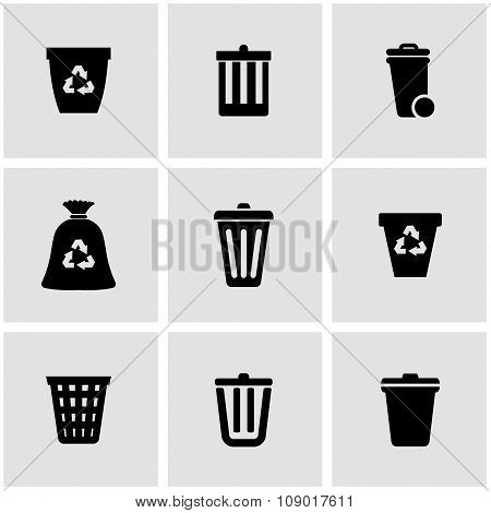 Vector black trash can icon set