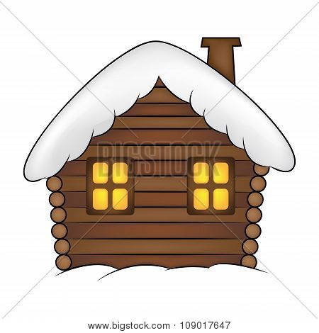 House With Snow Cartoon Illustration. Winter Snowy Christmas Home, Cottage Isolated On White Backgro