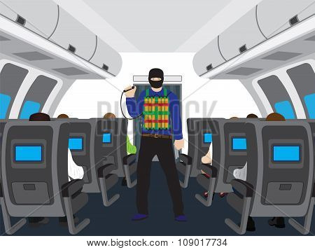 Terrorist With A Bomb In Salon Of The Plane.