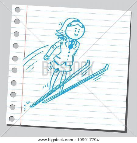 Businesswoman ski jumping