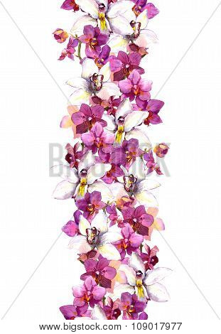 Chic floral seamless frame pattern with tropical flowers orchid. Watercolor