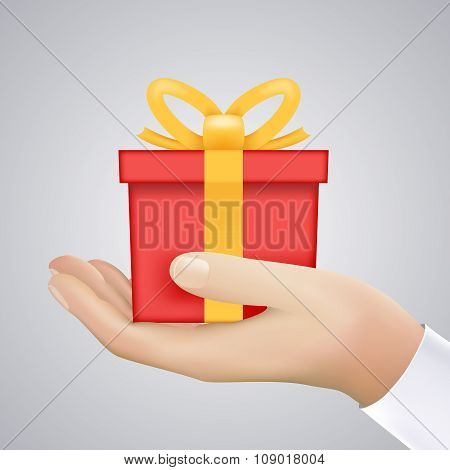 Realistic Hand Holding Cristmas Winter New Year Giftbox Present Icon Vector Illustration