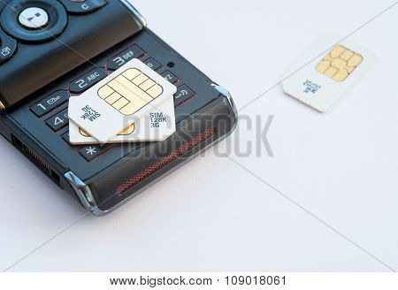 Mobile Memory Sim Cards On A Mobile Phone