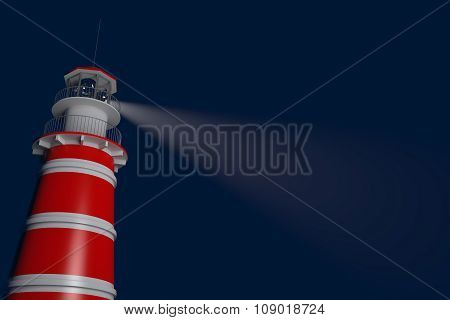 Powerful Lighthouse Illuminated At Night. 3D Rendering
