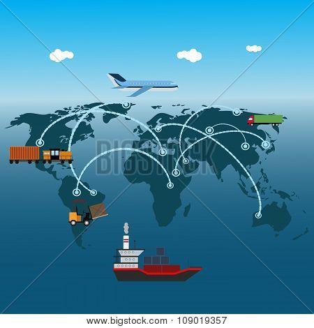 Logistics Flat Global Transportation Concept Transportation Over World Eps 10