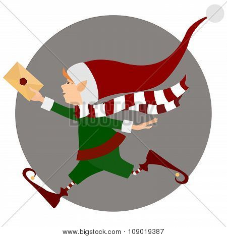 Running cute Christmas elf with express letter