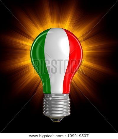 Light bulb with Italian flag (clipping path included)