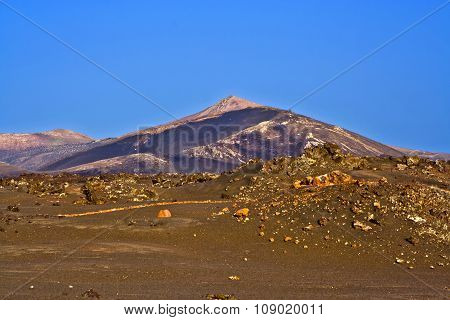 Volcano Landscape At Sunset, National Parc Of Timanfaya In Lanzarote