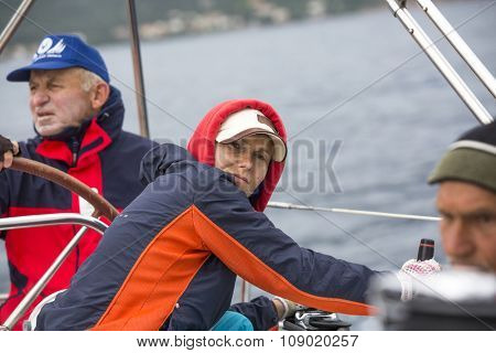MONEMVASIA, GREECE - CIRCA MAY, 2014: Sailors participate in sailing regatta 11th Ellada 2014 Spring among Greek island group in the Aegean Sea, in Cyclades and Argo-Saronic Gulf.