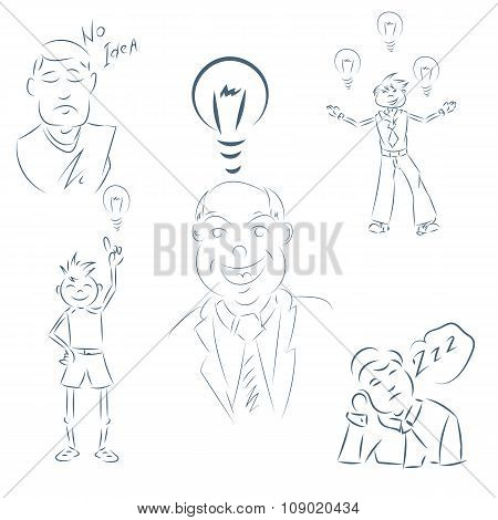 Set Of Hand Drawing Cartoon Character Happy Business Person Eps 10