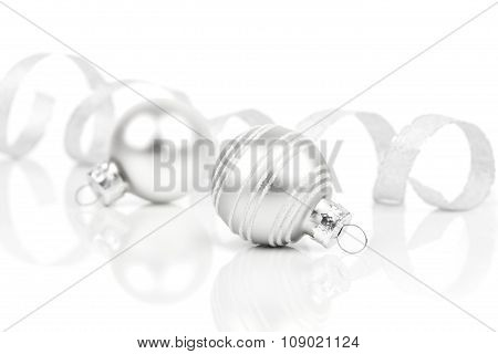 White Christmas Decoration Balls With Satin Ribbon, Isolated On White Background
