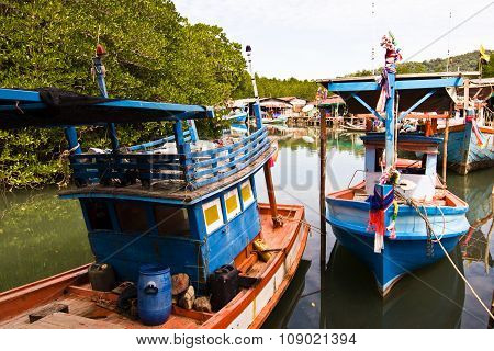 Colorfol Fisherboats In A Small Village