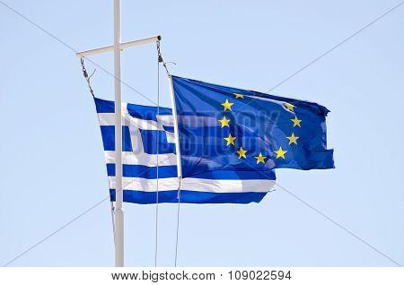 Greek And Eu Flags On A Ship Mast