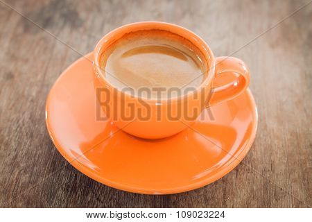 Hot Coffee On Wooden Table With Clipping Path