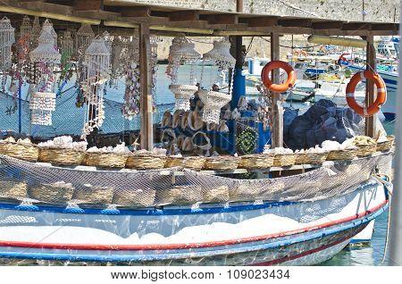 Souvenir Boat In Greek Harbor