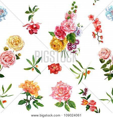 Bright watercolour roses, leaves and berries seamless background pattern