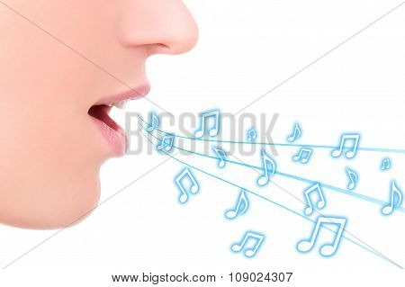 Music Concept - Female Mouth Singing Over White