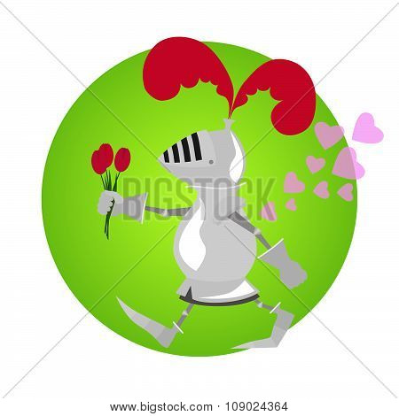 Funny knight with flowers for Valentine day on green frame