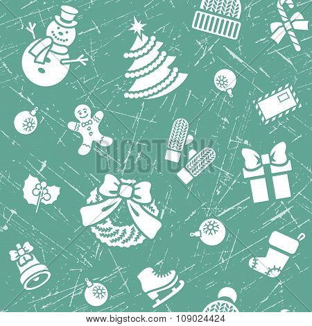 Christmas Background Seamless Grunge Textured Pattern
