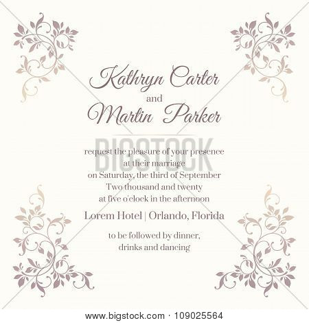 Wedding Invitation. Template Classic Cards.